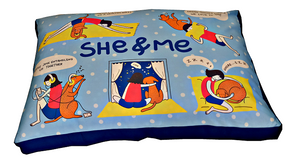 Dog Bed Cover in High-Quality Cotton Canvas Cover (She & Me) - Large