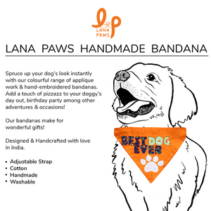 Best dog Ever Handmade - Adjustable Dog Bandana/ Dog Scarf (orange)