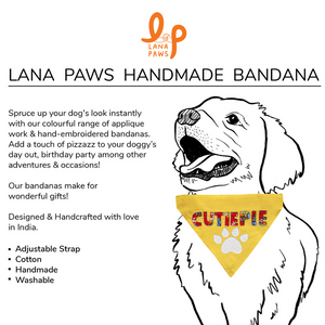 Cutiepie Handmade - Adjustable Dog Bandana/ Dog Scarf (yellow)