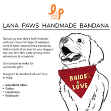 Bride's First Love - Adjustable Wedding Dog Bandana/ Scarf/ Dog Outfit in Silk (red)