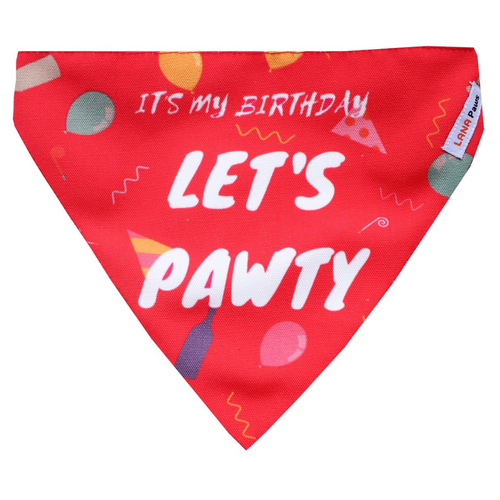 Lana Paws birthday dog party bandana in red