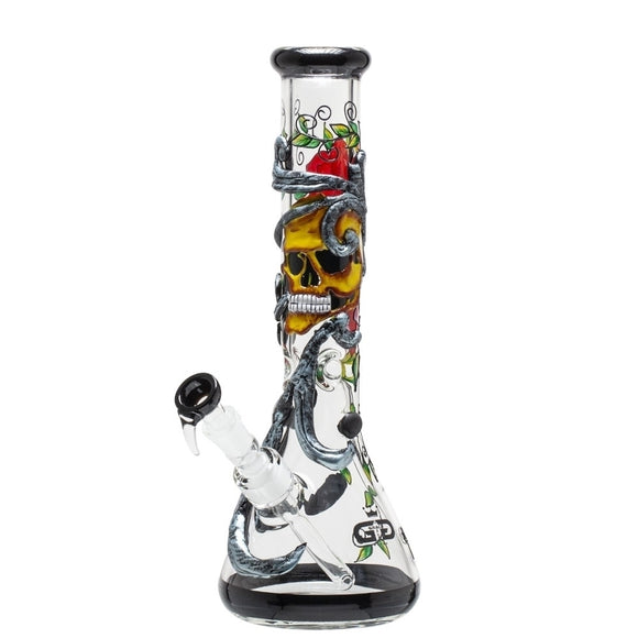 Grace Glass Skulls 'n Roses Art Series Glass Bong