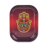 Hamsa Red Metal Rollin' Tray Small