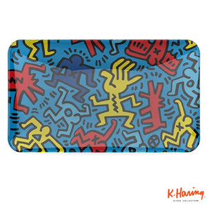 Keith Haring Glass Rolling Tray Blue