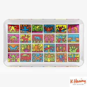 Keith Haring Glass Rolling Tray Multi Coloured