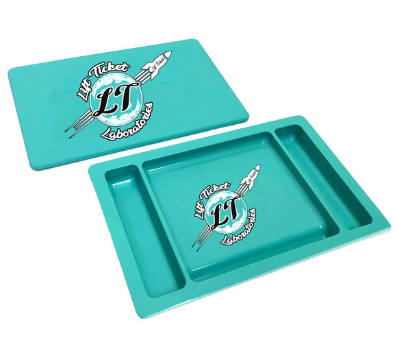 Lift Tickets Air Tight Travel Rolling Tray Aqua