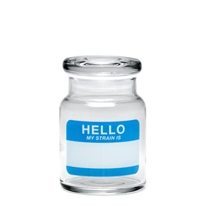 "420 Science ""Hello My Strain Is"" Glass Jar Small"