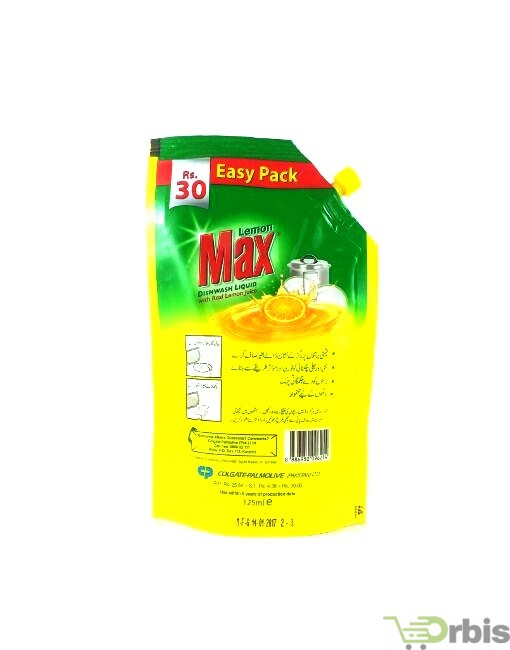 Lemon Max Dishwash Liquid pouch 125ml