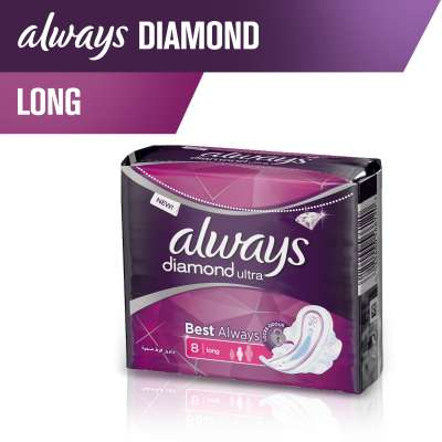 Always Diamonds Ultra Thin Sanitary Pads, Long,Single Pack 7pads