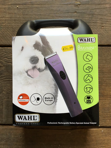 Wahl BravMini Rechargeable Battery Animal Trimmer from AJ's Equestrian Boutique, Hertfordshire, England