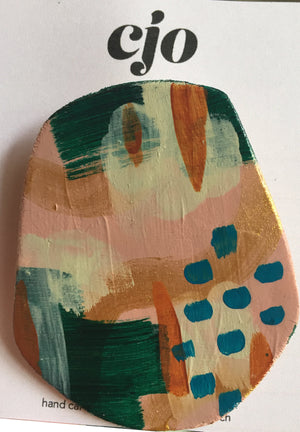 Pastel Wooden Brooch