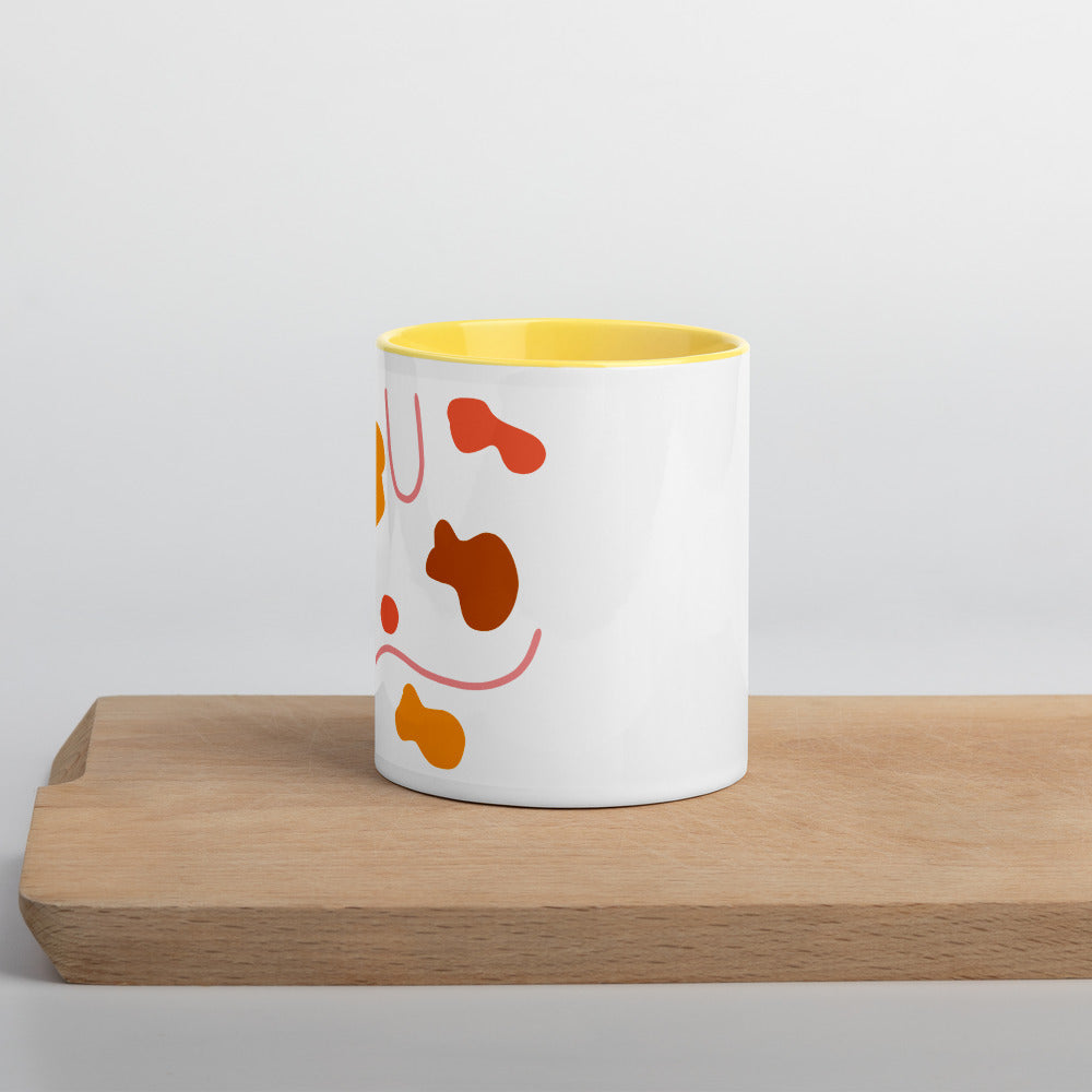 Abstract Design Mug with Yellow Insides