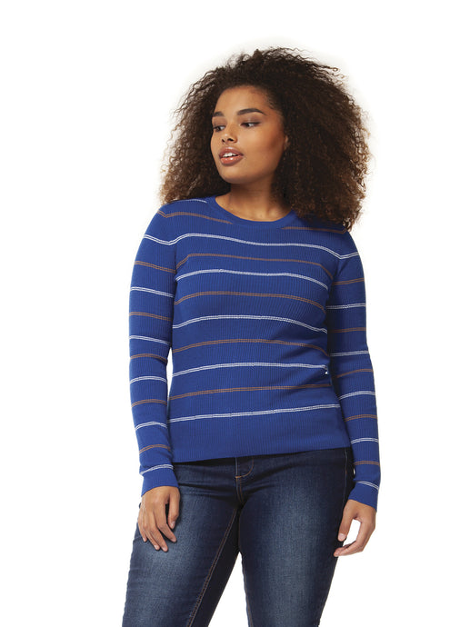 Electric Blue Stripe Scoop Neck Sweater