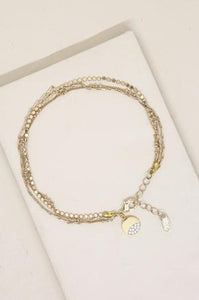 Crystal Dipped Multi Chain Anklet