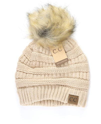 CC Beanie Hat with Fur Pom