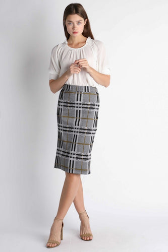 Plaid Knit Midi Skirt
