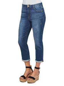 """Ab""solution Modern High Rise Crop Luxe Blue Jeans"