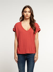 V Neck Tee with Lace Up Detail
