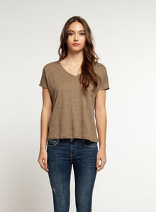 V Neck Shirt with Jeweled Pocket