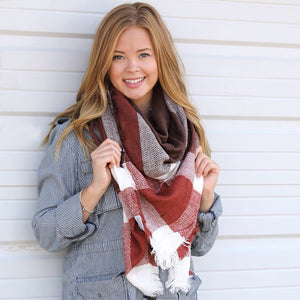 Plaid Blanket Scarves