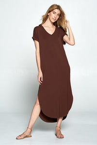 Long Basic V-Dress