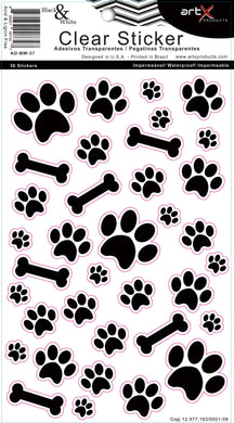 Sticker Artesanato Patinhas Cachorro Pet Black & White AD-BW-37