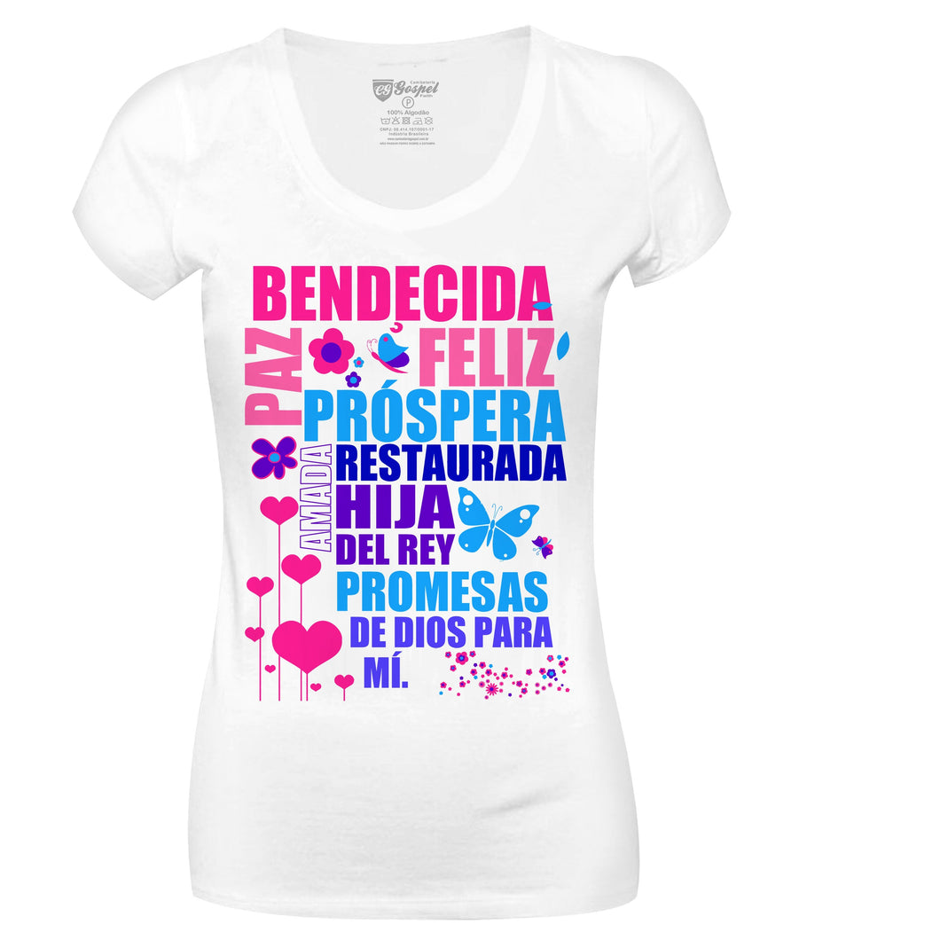 Camiseta Bendecida CG-LL-0147-BR-ESP(Long Look)
