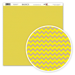 Papel Scrap Book Chevron Amarelo Canário / Kraft SB-C01-0118