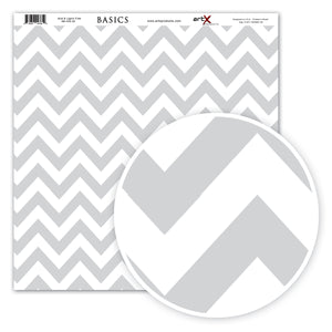 Papel Scrap Book Chevron Cinza SB-C02-20