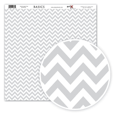 Papel Scrap Book Chevron Cinza SB-C03-20
