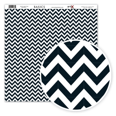 Papel Scrap Book Chevron Preto SB-C03-22