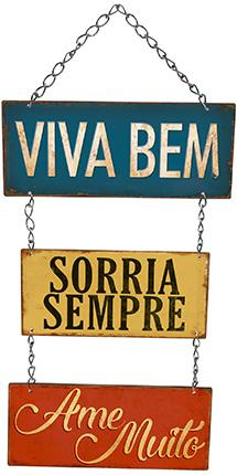 Decor Home - Placa Com Correntes Viva Bem... Litoarte lto-dhpm5-230
