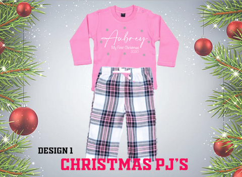 Christmas PJ's -  Babies First Christmas... Baby Sizes
