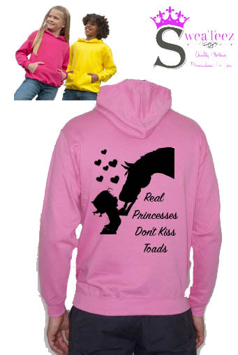 Kids Real princesses don't kiss toads Hoodie
