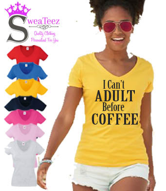adult before coffee slogan t shirt