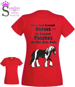 When God Created Horses  ... Lady Fit - Round Neck T shirt