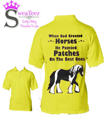 When god created horses  ....Adults Polo Shirt