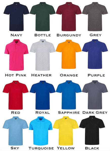 Adults Unisex Personalised Polo Shirt