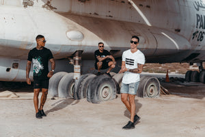 FASHION, LIFESTYLE - Fitted Marveli T-shirts with Models in Umm Al Quwain, Dubai around Ilyushin IL 76 plane