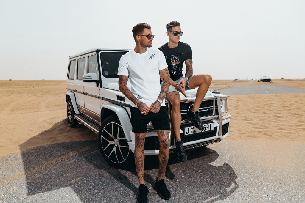 Three Models, Marveli Men's Printed Fashion T-Shirts - Wings, Wolf Slash, Polaroid Blow - on Mercedes-Benz SUV G-Class in Dubai