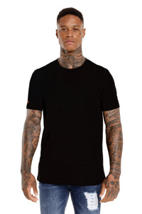 Front View Of The Marveli LKDP Black Printed T shirt with Logos