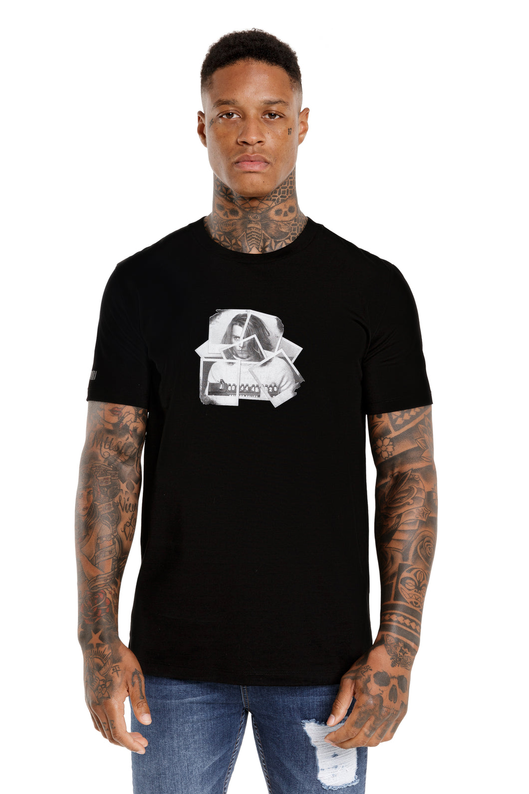 Front View Of The Marveli Polaroid Blow Black Printed T shirt with Logos