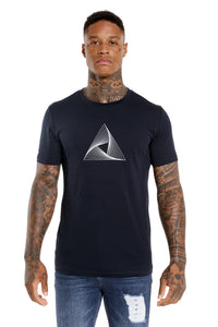 Front View Of The Marveli Logo Navy Blue Printed T shirt