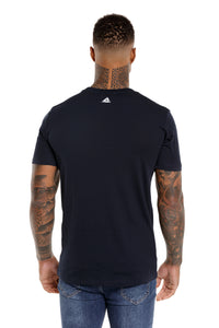 Back View Of The Marveli Logo Navy Blue Printed T shirt