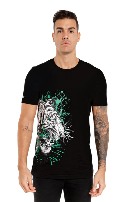 Front View Of The Marveli White Tiger Black Printed T shirt with Logos