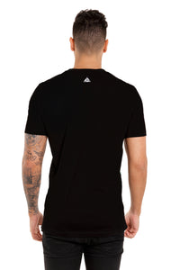 Back View Of The Marveli White Tiger Black Printed T shirt with Logos