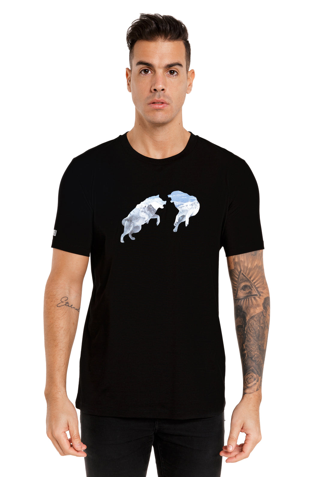 Front View Of The Marveli Snow Wolves Black Printed T shirt with Logos