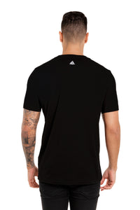 Back View Of The Marveli Snow Wolves Black Printed T shirt with Logos