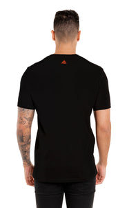 Back View Of The Marveli Wolf Slash Black Printed T shirt with Logos