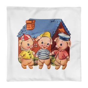 3 Little Pigs Pillow Cover